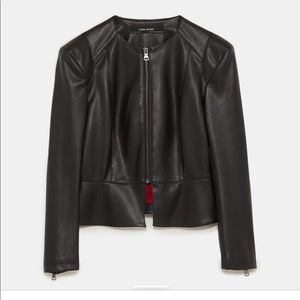 ZARA Faux Leather Jacket with Shoulder Pads